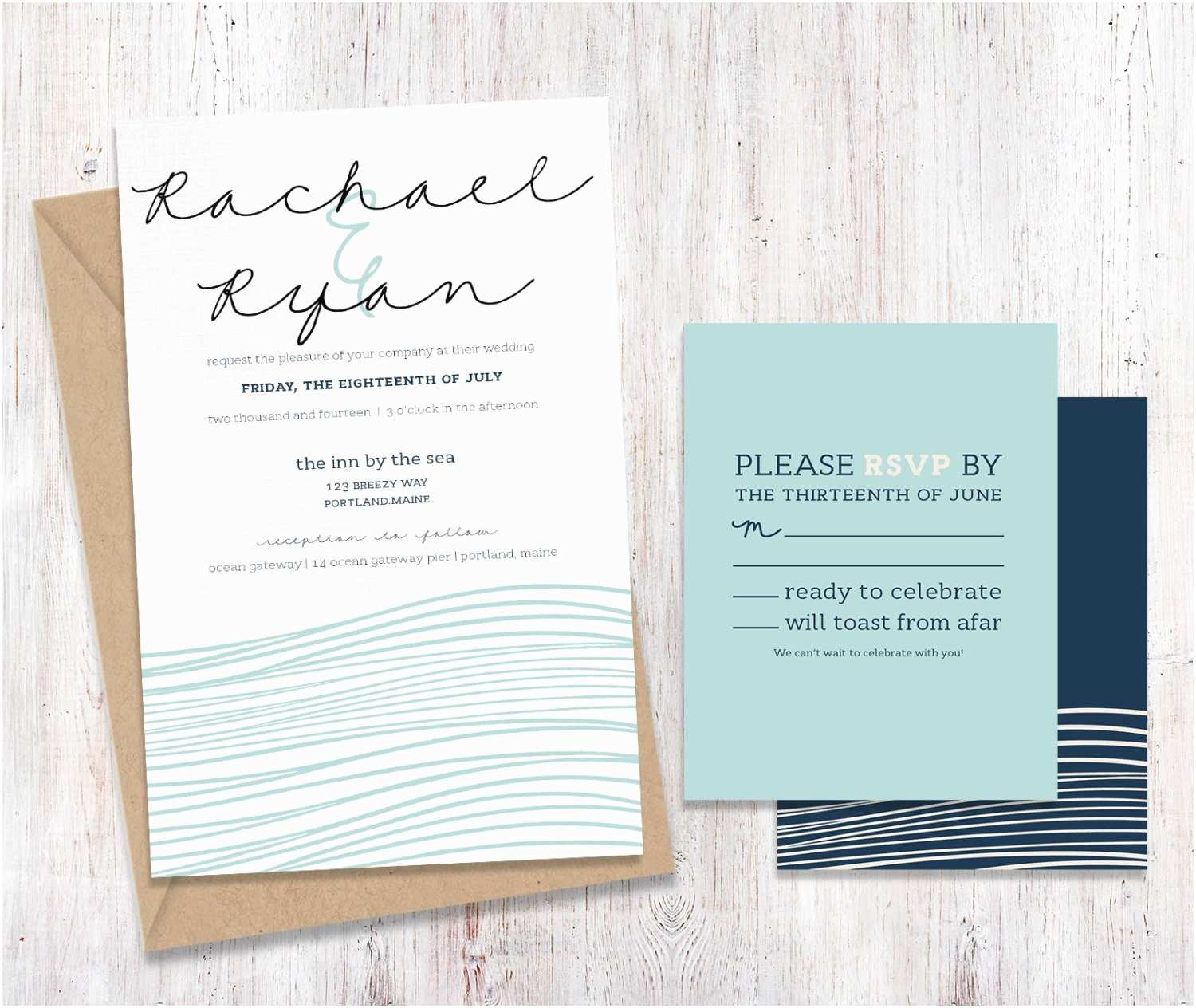 Ocean Wedding Invitations Coastal Ocean Beach Wedding Invitations