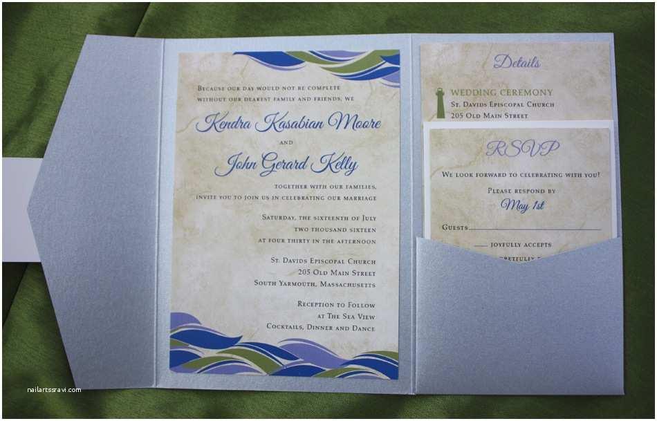 Ocean Wedding Invitations Cobalt Blue Periwinkle Purple Sage Green & Silver Ocean