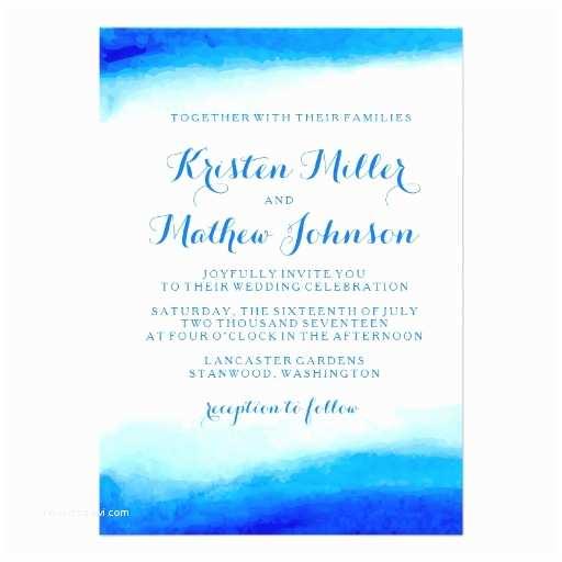 Ocean Wedding Invitations Ocean Watercolor Blue Wedding Invitation