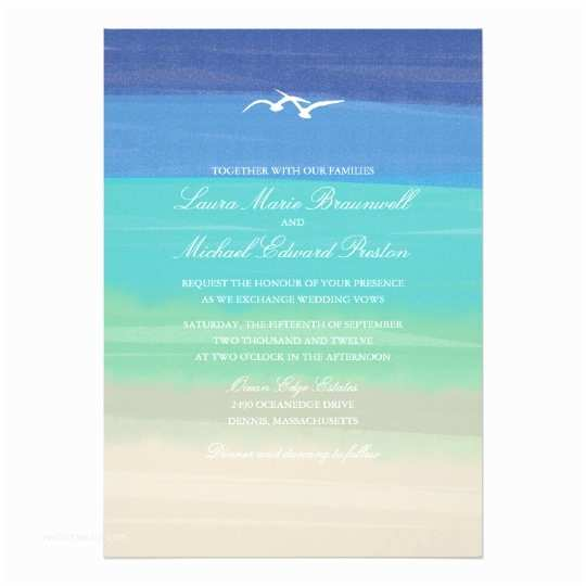 Ocean Wedding Invitations Sand Sea & Seagulls Painted Ocean Wedding Card