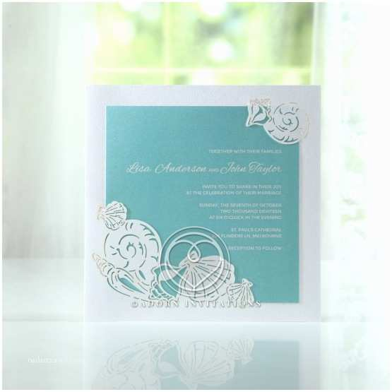 Ocean Wedding Invitations Seaside Wedding Invitation with Laser Cut Sea Shells Tabs