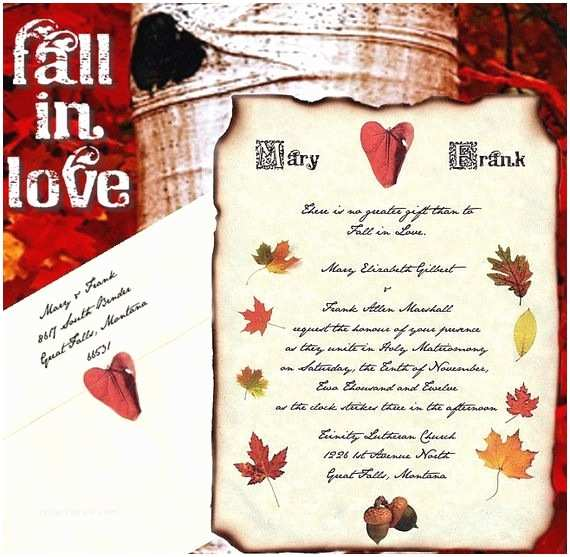 October Wedding Invitations 50 Fall In Love Autumn Scroll Wedding Invitations Invites