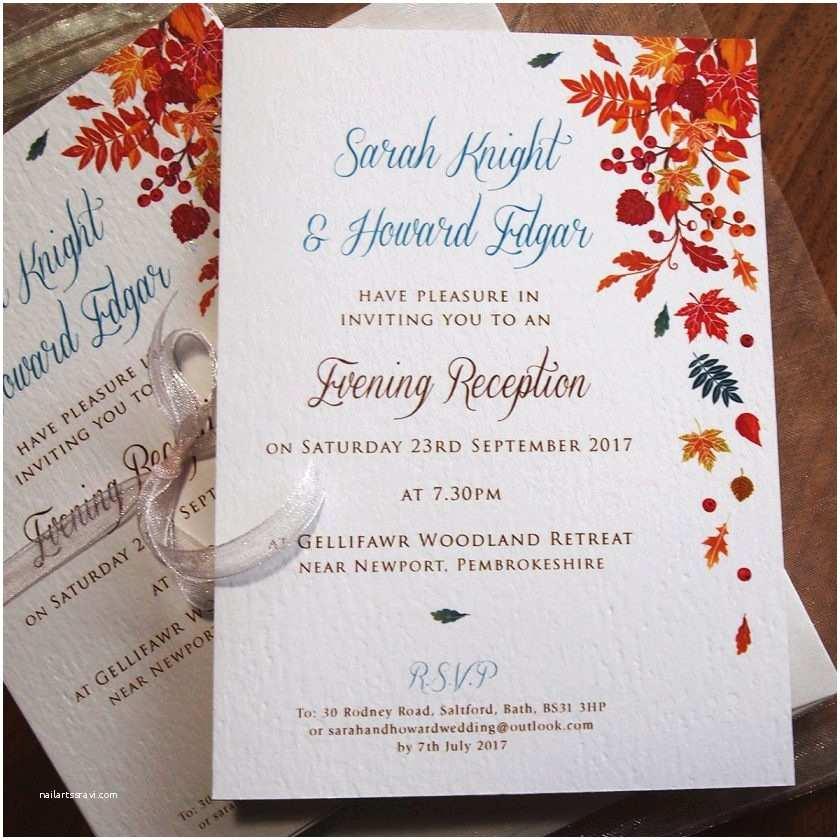 October Wedding Invitations Autumn Wedding Invitations – Falling Leaves Design – Paper