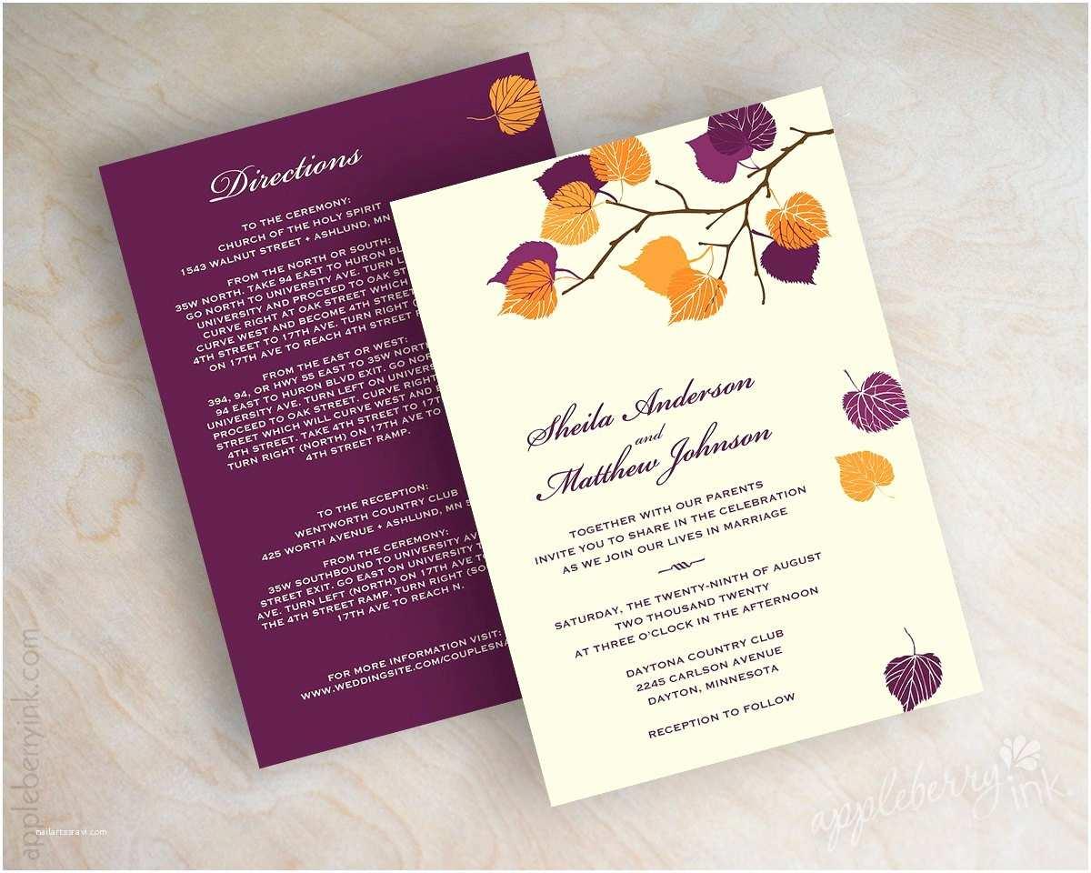 October Wedding Invitations Birch Tree Wedding Invitations Autumn Wedding Stationery