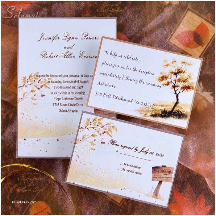 October Wedding Invitations Country Side Style Gold Rustic Fall Cheap Wedding