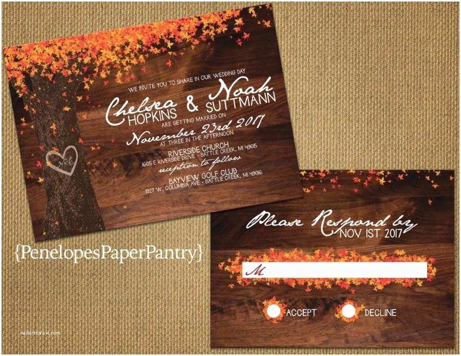 October Wedding Invitations Elegant Rustic Fall Wedding Invitation Oak Tree with