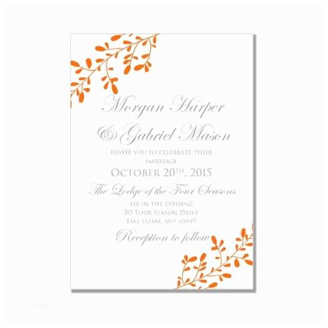 "October Wedding Invitations Fall Wedding Invitation Printable ""fall"" Diy Wedding"