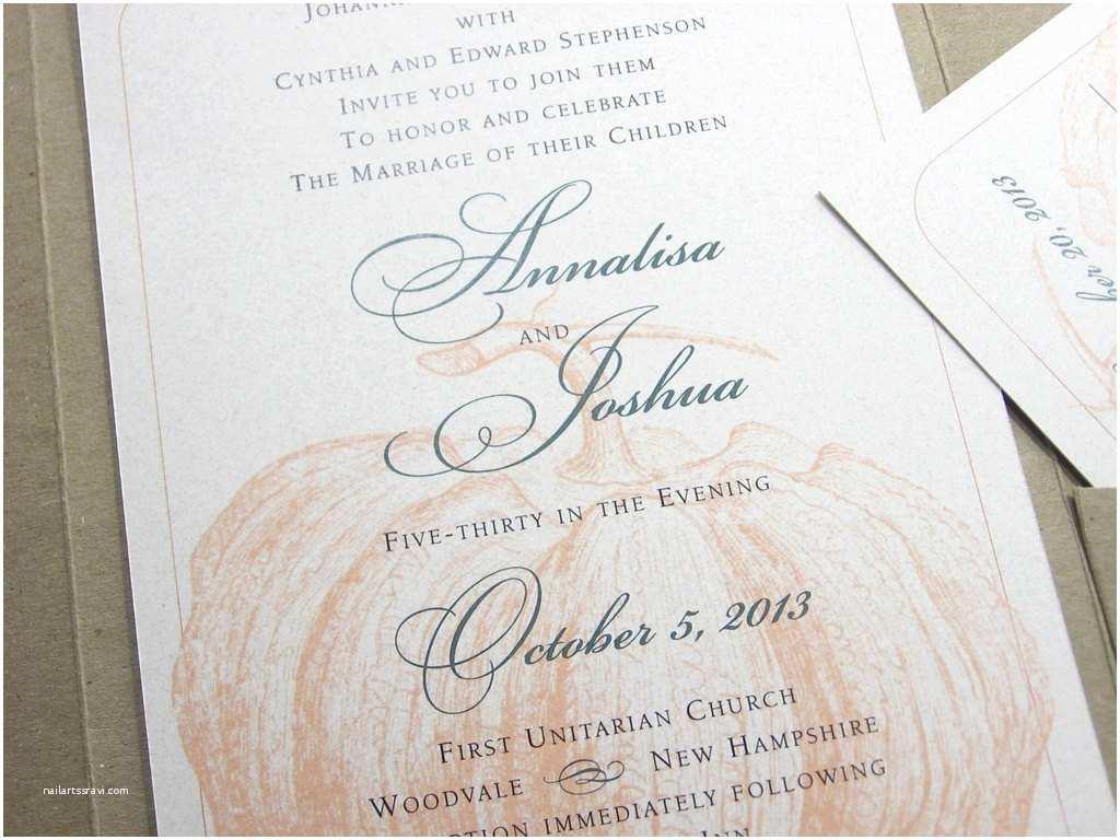 October Wedding Invitations Fall Wedding Invitation Traditional Custom Recycled Pocketfold