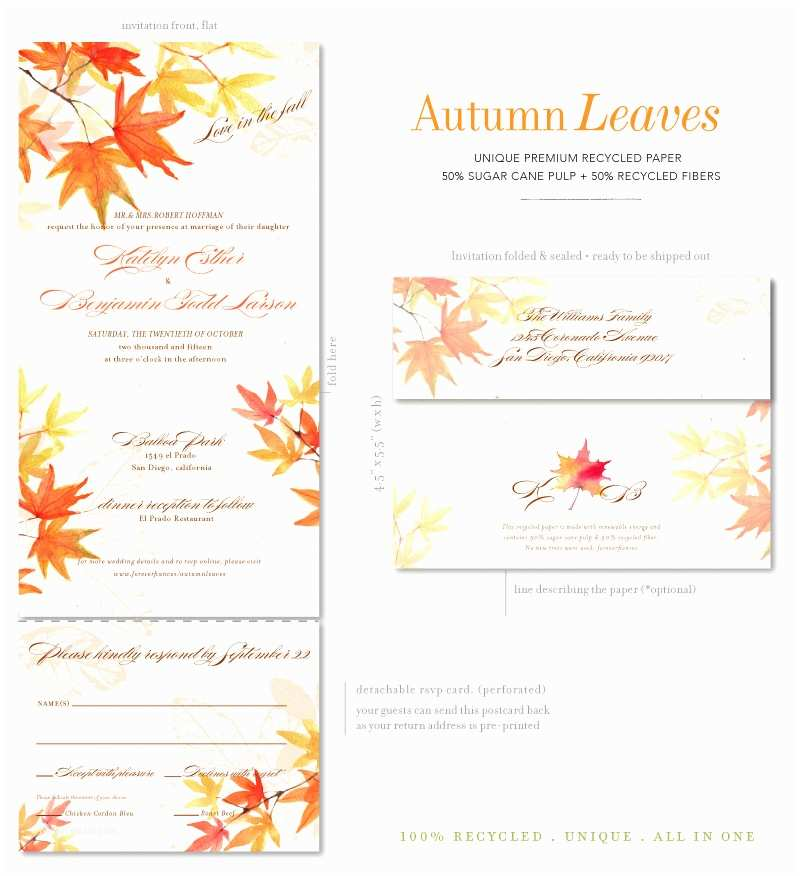 October Wedding Invitations Fall Wedding Invitations with Autumn Leaves On