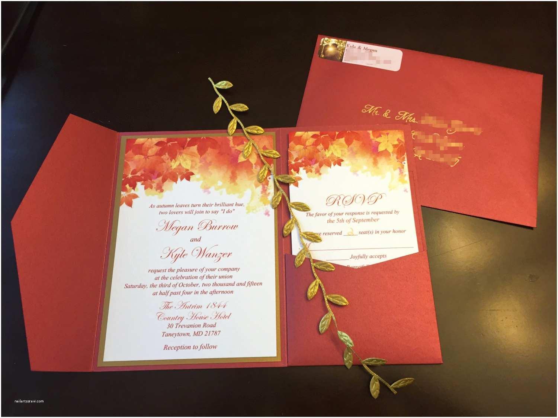 October Wedding Invitations Fall Wedding Pocketfold Invitation Suite Autumn Leaves