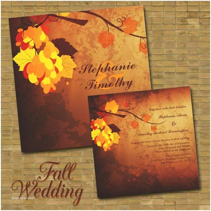 October Wedding Invitations Picture Stylish and Elegant Fall Wedding Invitations