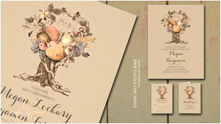 October Wedding Invitations Read More – Rustic Fall Wedding Invitation with Fruit and