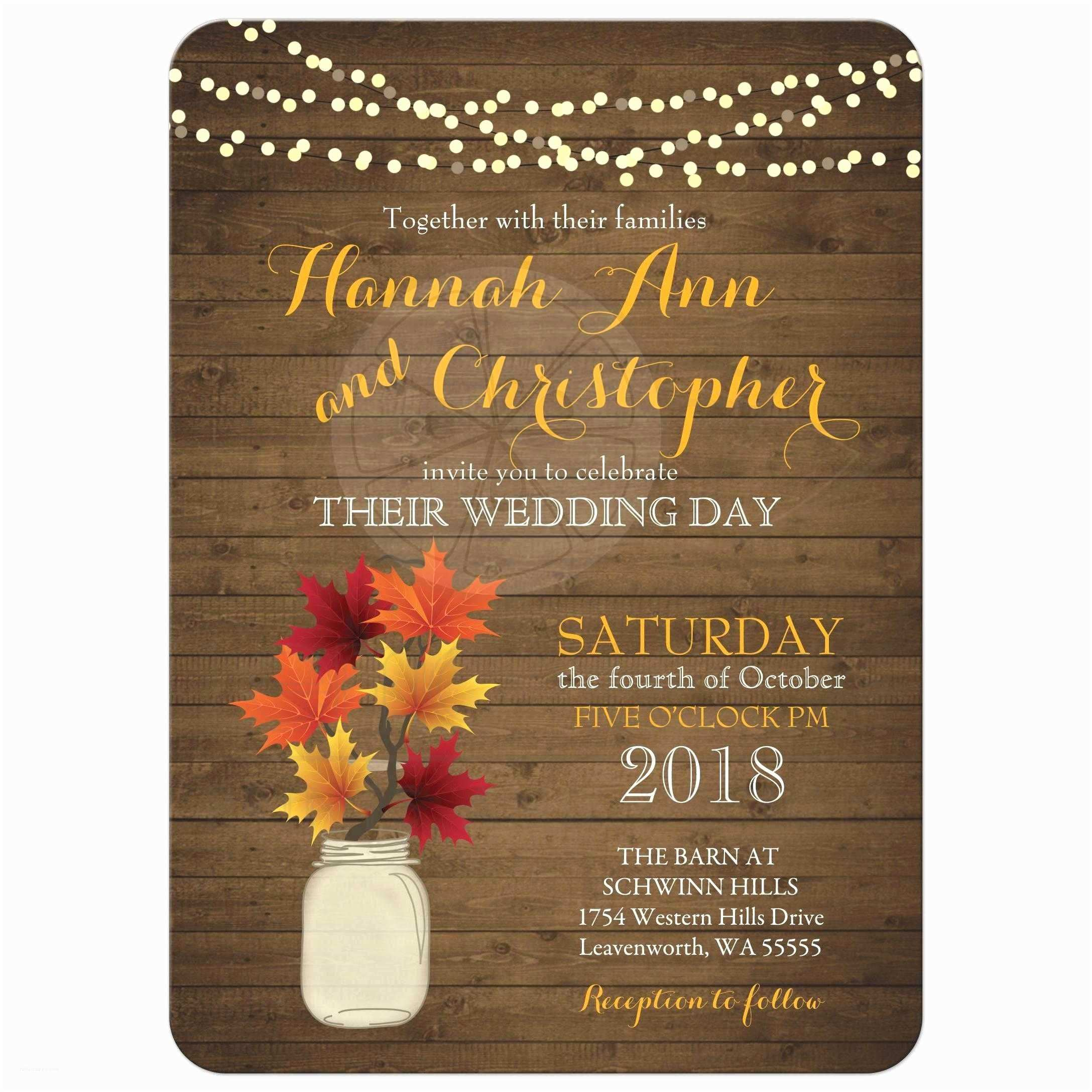 October Wedding Invitations Rustic Country Fall Wedding Invitations Featuring A Rustic