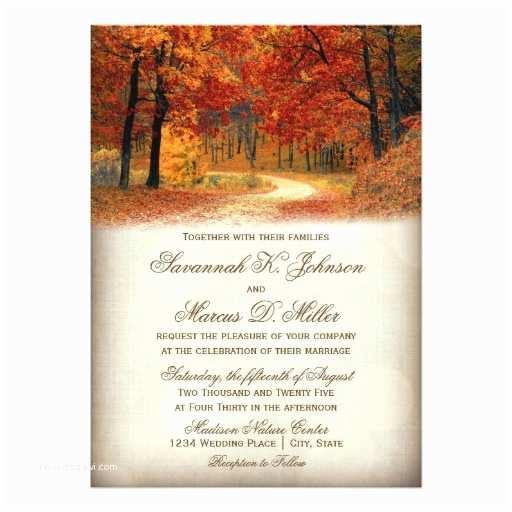 October Wedding Invitations Rustic Fall Leaves Autumn Wedding Invitations