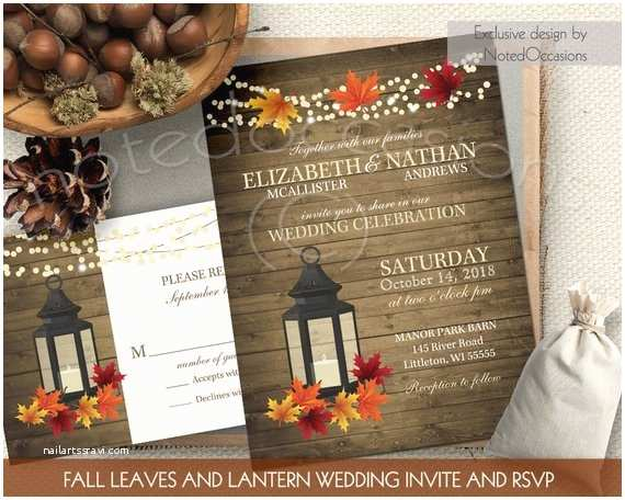 October Wedding Invitations Rustic Fall Wedding Invitations Set Metal by Notedoccasions
