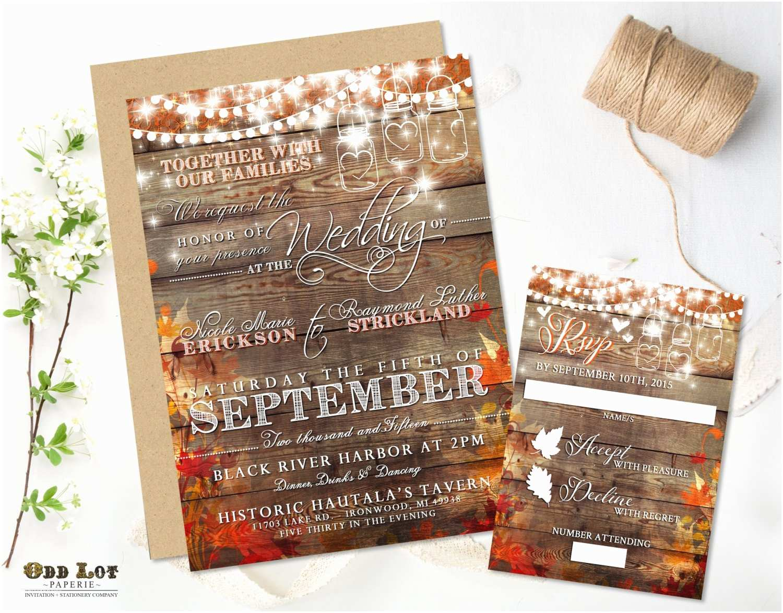 October Wedding Invitations Rustic Wedding Invitation Fall Wedding Invite Country Wedding