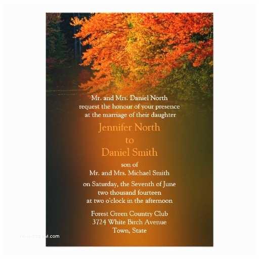 "October Wedding Invitations Rustic Wedding Invitations for Fall 5"" X 7"" Invitation"