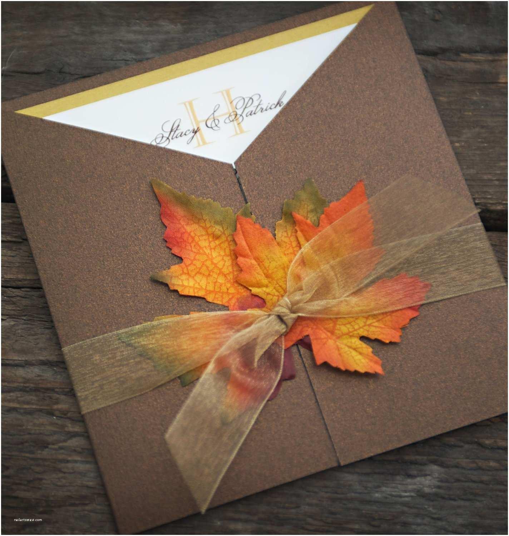 October Wedding Invitations Sample Fall Wedding Invitation Autumn Glory Fall Leaves
