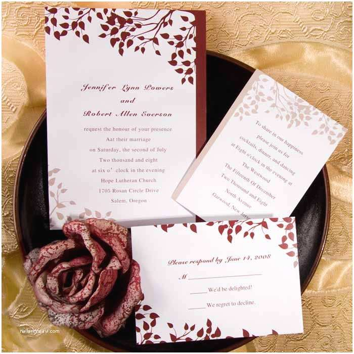 October Wedding Invitations Simple Fall Leaf Wedding Invitations Ewi030 as Low as $0 94