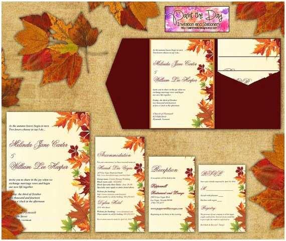 October Wedding Invitations Wedding Invitation Templates Fall themed Wedding