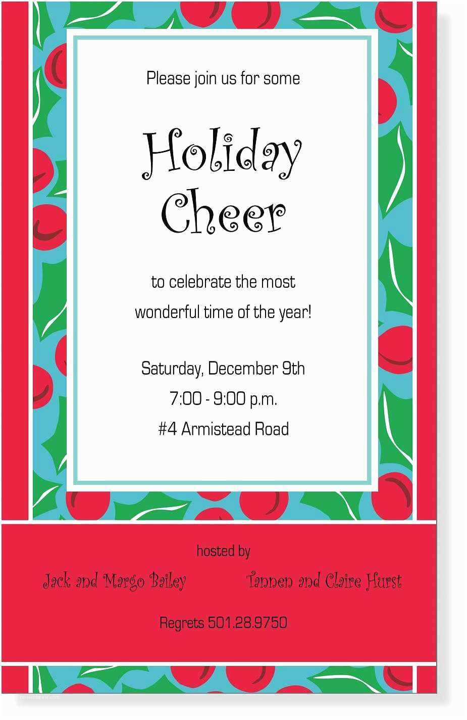 Office Christmas Party Invitation Wording Wording for Holiday Open House