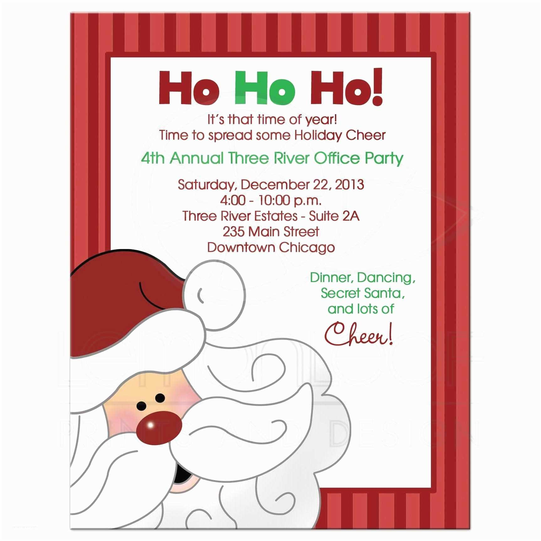 Office Holiday Party Invitation Wording Santa Claus Christmas Fice Party Invitation