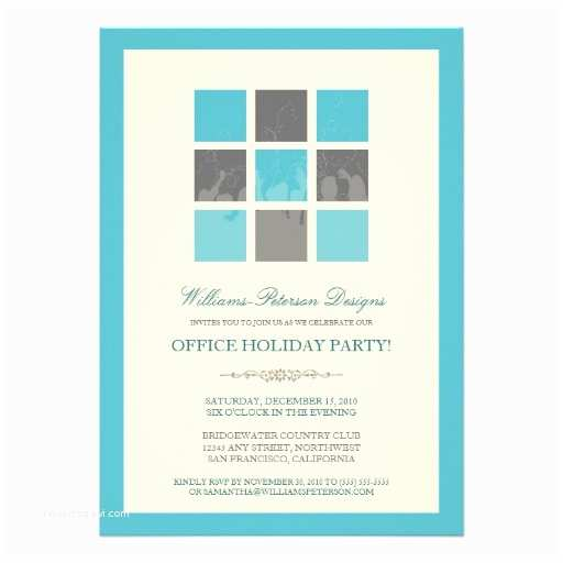 "Office Holiday Party Invitations Modern Fice Holiday Party Invitation Aqua 5"" X 7"