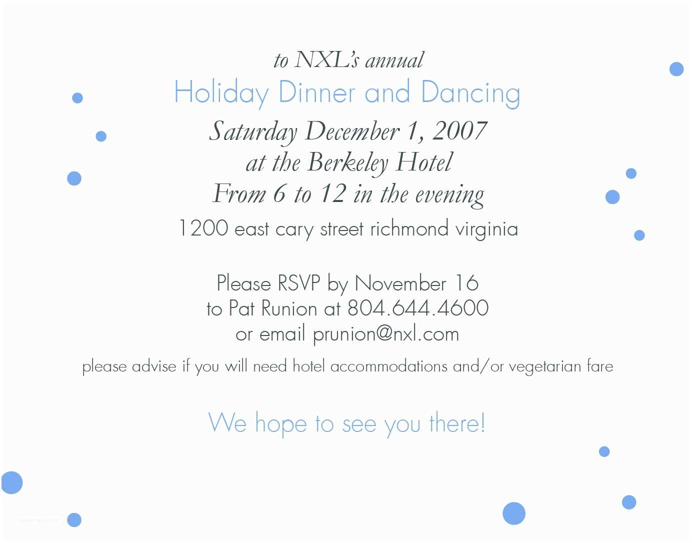 Office Party Invitation Email Dinner Invitation Email