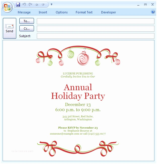 Office Party Invitation Email Download Free Printable Invitations Of E Mail Message