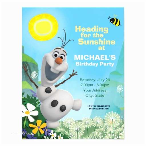 Olaf Birthday Invitations Frozen Summer Olaf Birthday Invitation