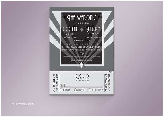 Old Hollywood themed Wedding Invitations Diy Printable Old Hollywood Wedding Invitation & Rsvp Ticket
