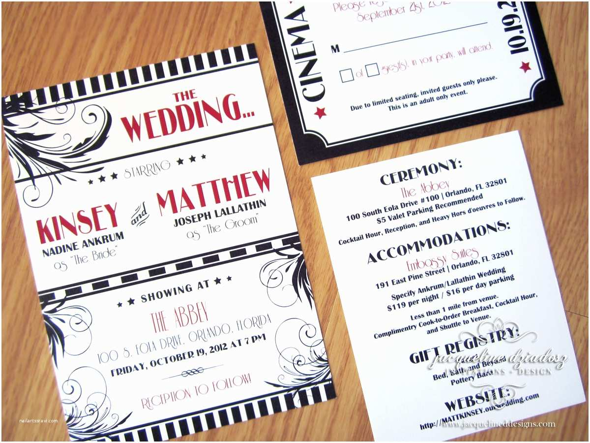 Old Hollywood themed Wedding Invitations Kinsey & Matthew S Old Hollywood Wedding Invitations