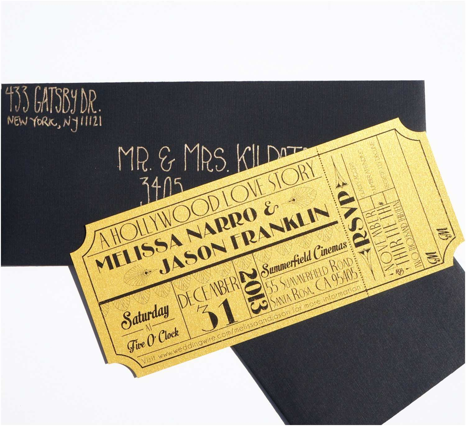 Old Hollywood themed Wedding Invitations Old Hollywood Art Deco Gold Movie Ticket Invitation Sample