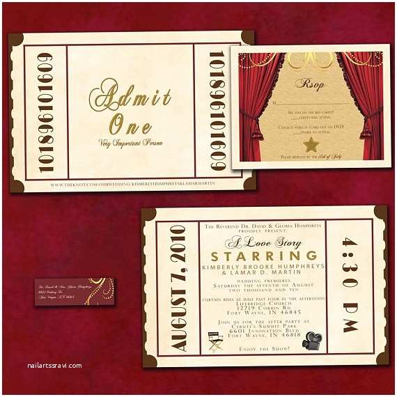 Old Hollywood themed Wedding Invitations theatre Ticket Wedding Invitation Suite Old Hollywood