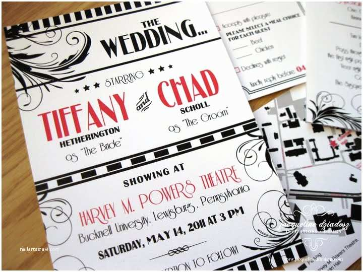 Old Hollywood themed Wedding Invitations Tiffany & Chad S Old Hollywood Glam Invites