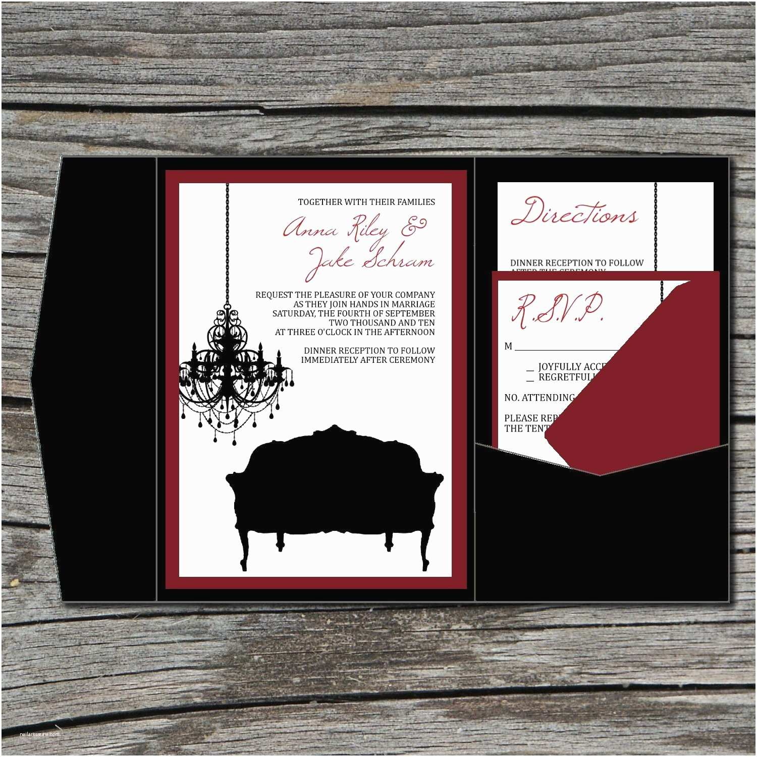 Old Hollywood themed Wedding Invitations Wedding Invitation Diy Pocketfold Old Hollywood Glam