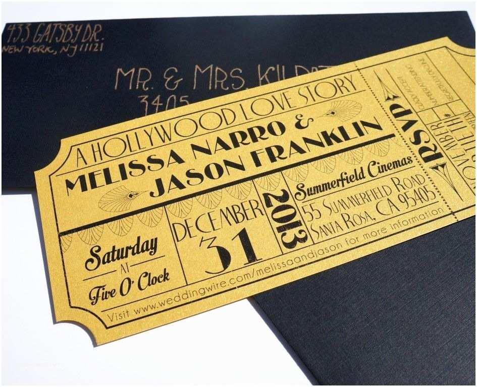 Old Hollywood themed Wedding Invitations Wonderful Old Hollywood Art Deco Gold Movie Ticket Wedding