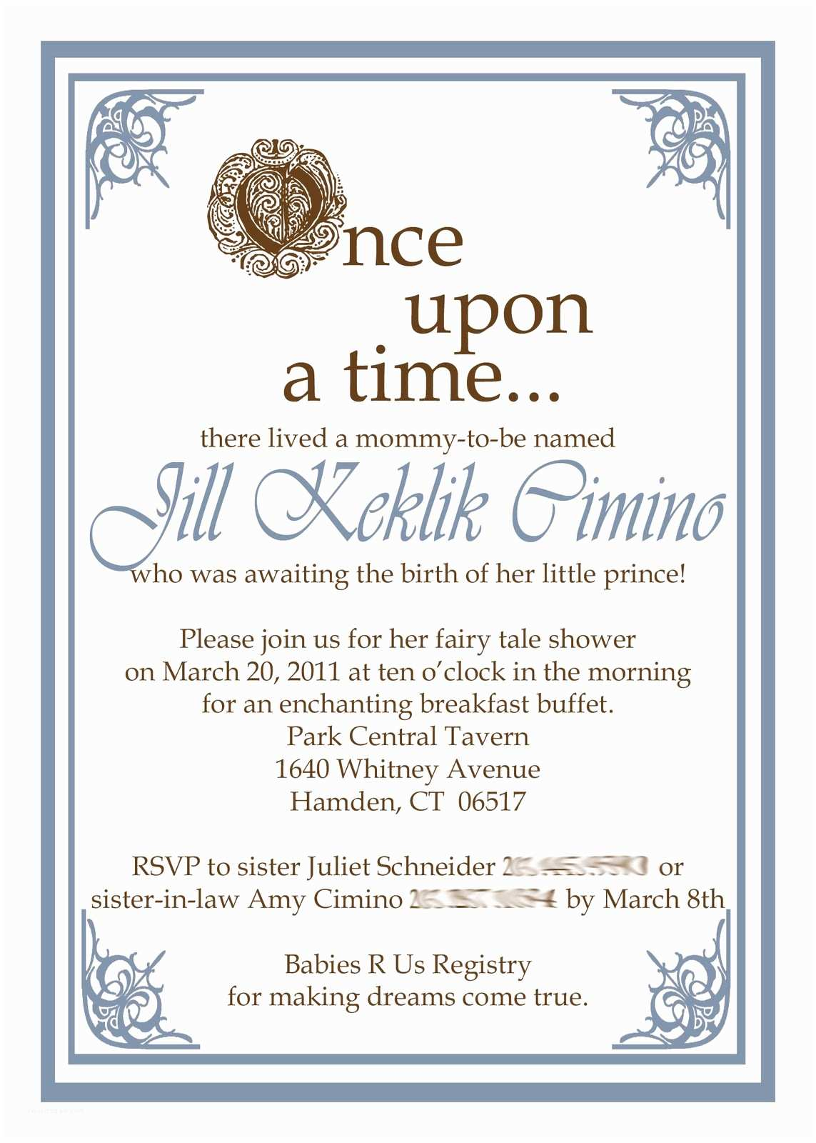 Once Upon A Time Baby Shower Invitations Little Bit Creations Jill S Fairy Tale Baby Shower