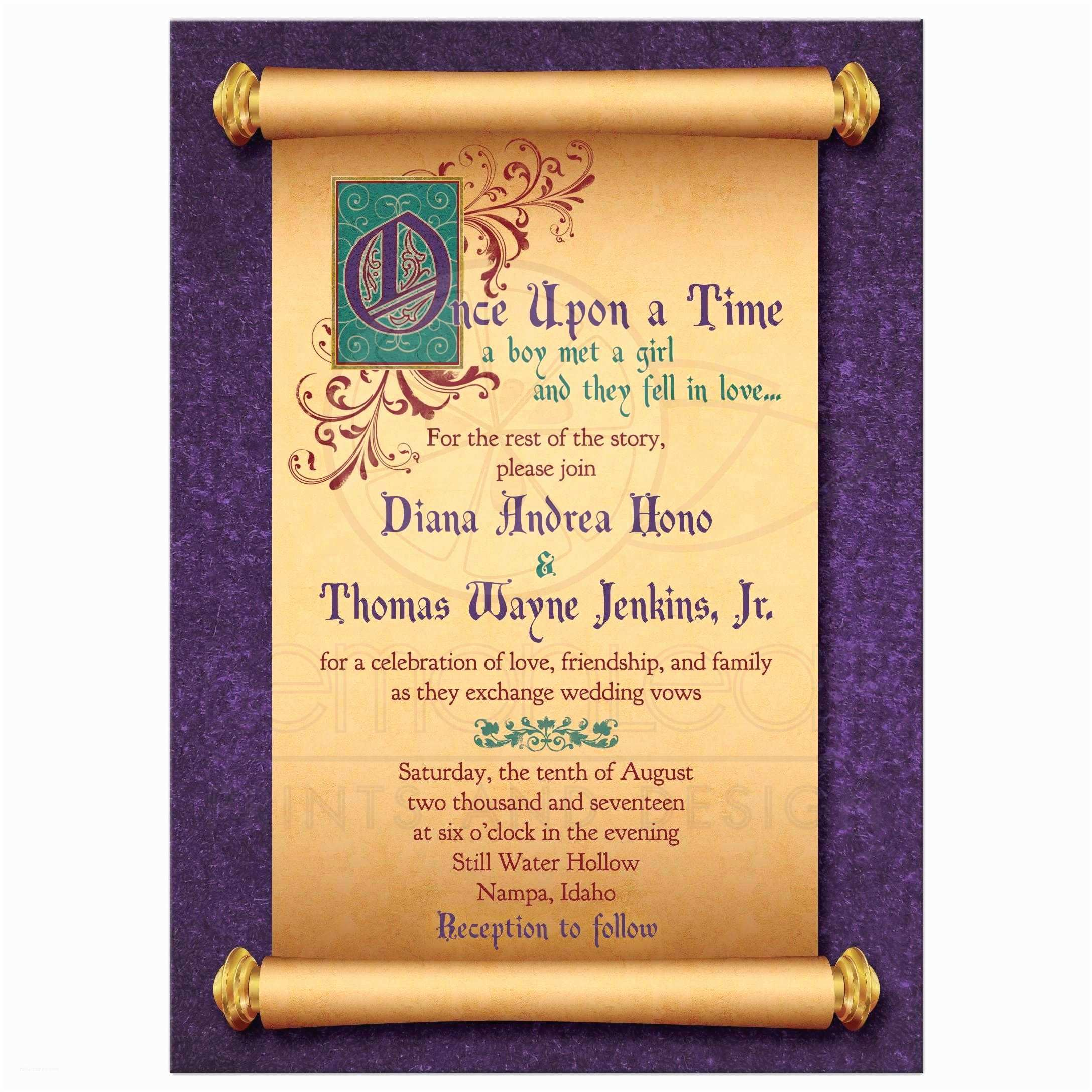 Once Upon A Time Wedding Invitations Fairytale Wedding Invitation Me Val Scroll Ce Upon A Time