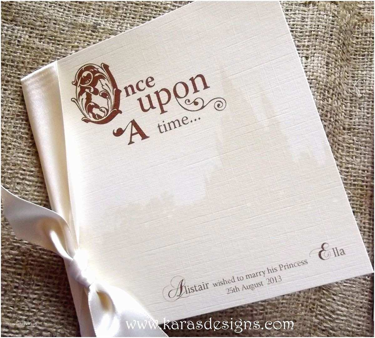 Once Upon A Time Wedding Invitations Folded Wedding Invites Disney Castle Inspired Wedding