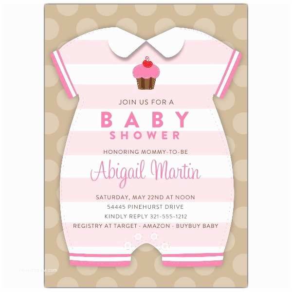 Onesie Baby Shower Invitation Baby Girl Esie Shower Invitations