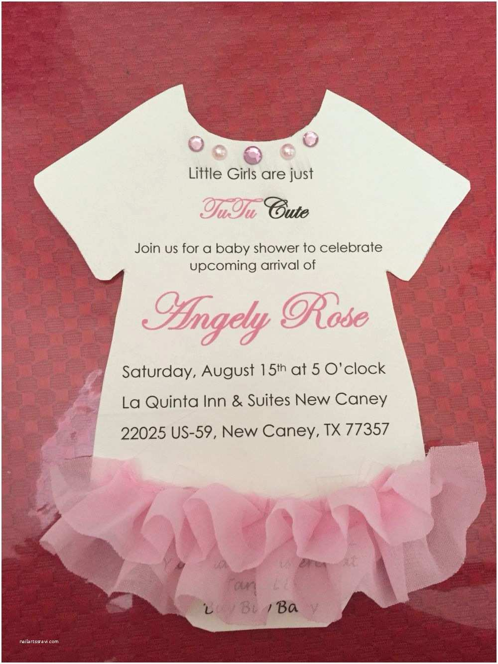 Onesie Baby Shower Invitation Baby Shower for Girls Tutu Baby Shower Pink Invitations