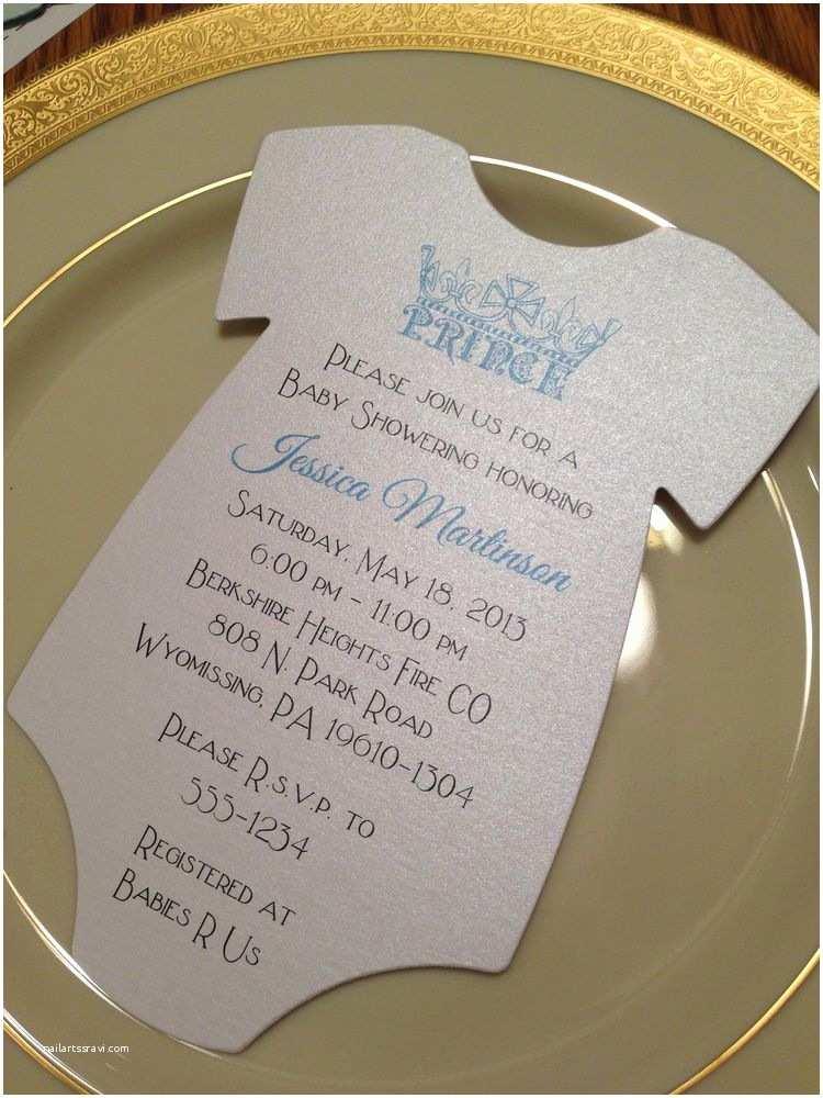 Onesie Baby Shower Invitation Baby Shower Invitation Esie Prince Crown for Boy Printed