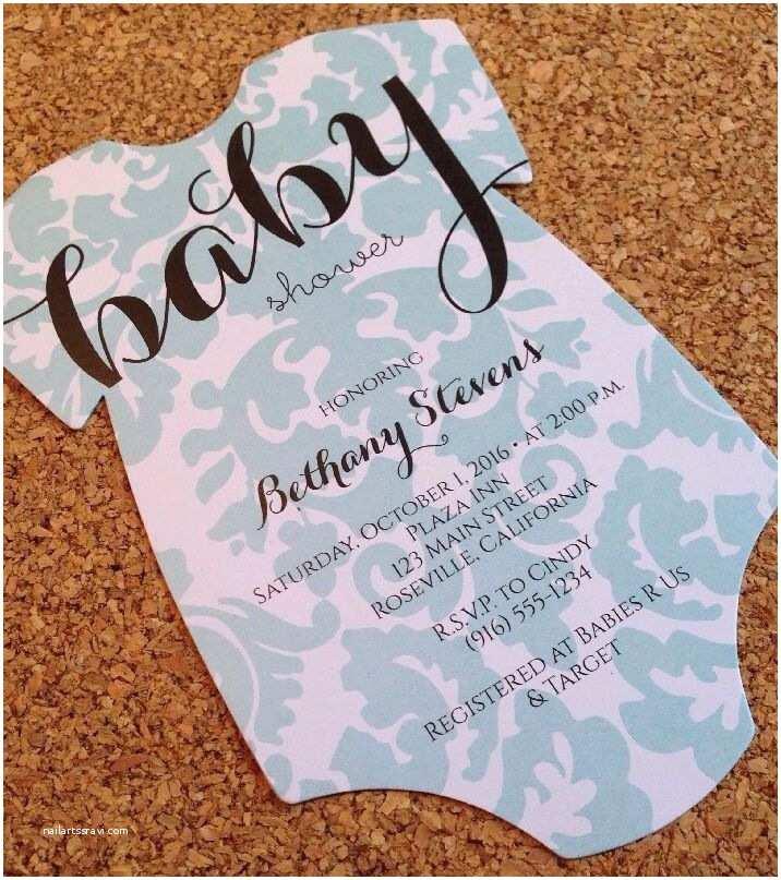 Onesie Baby Shower Invitation Baby Shower Invitation Esie with Damask Design