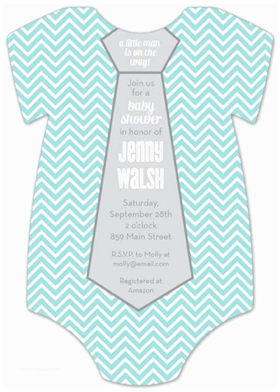 Onesie Baby Shower Invitation Chevron Necktie Esie Invitation
