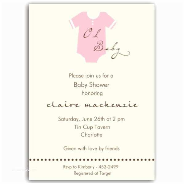 Onesie Baby Shower Invitation Esie Pink Baby Shower Invitations