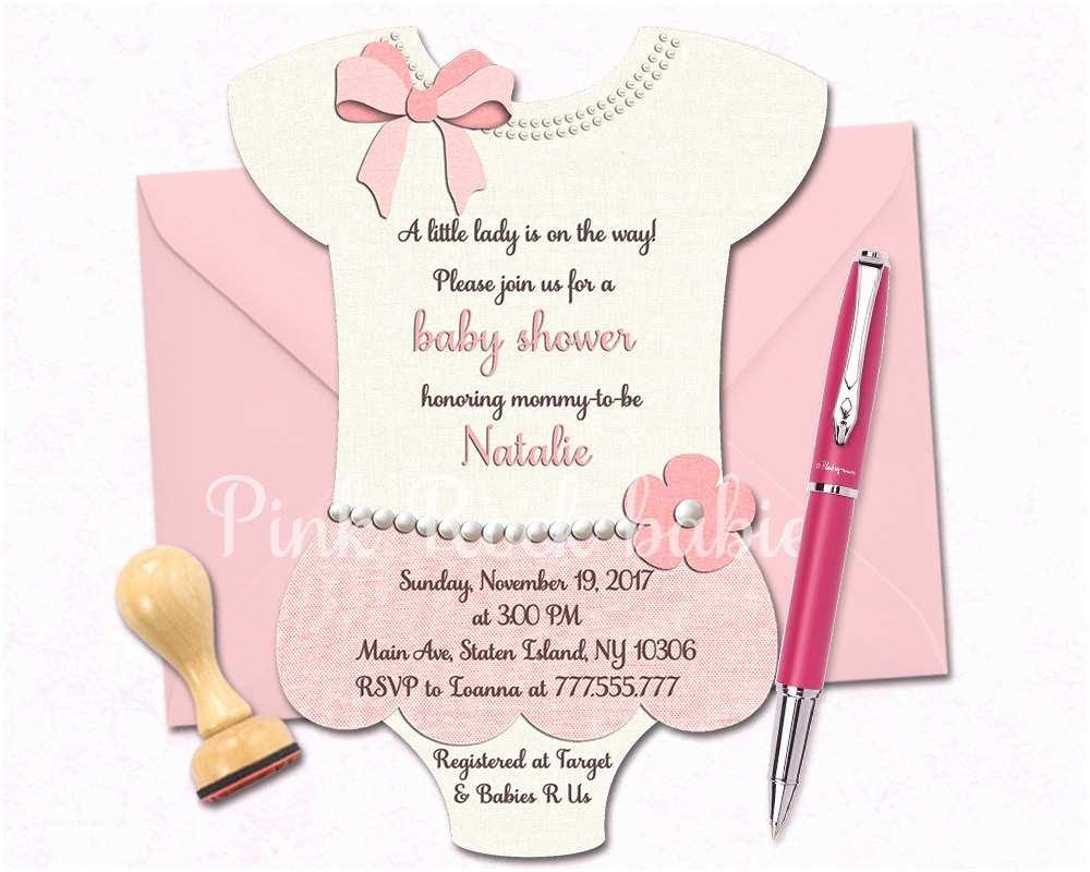 Onesie Baby Shower Invitation Esie Shaped Baby Shower Printable Invitation Girl Little