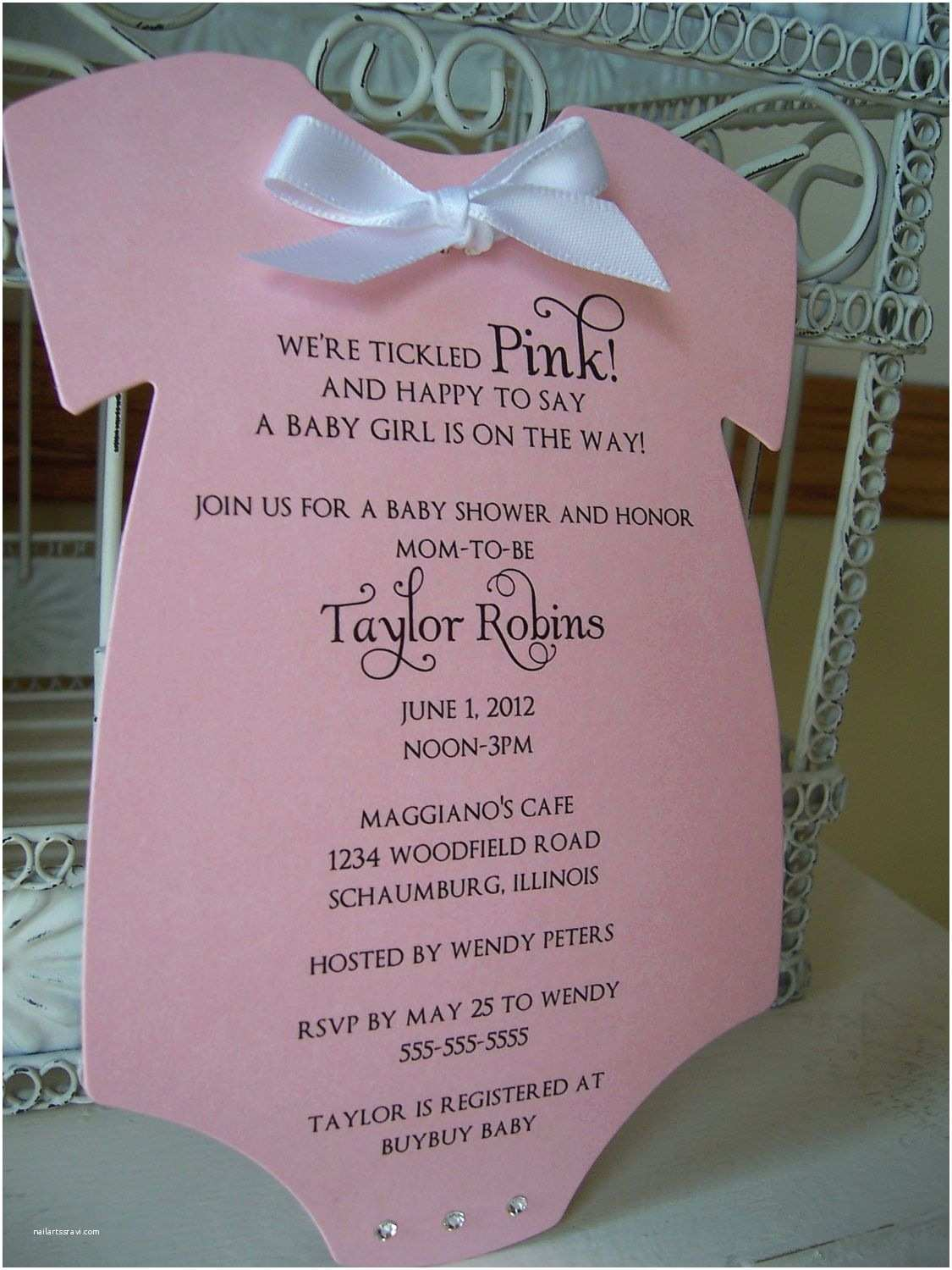 Onesie Baby Shower Invitation Think Pink Baby Shower Invitation Custom Die Cut Esie