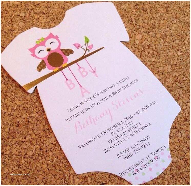 Onesie Baby Shower Invitations Baby Shower Invitation Esie with Baby Girl Owl