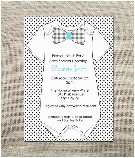 Onesie Baby Shower Invitations Esie Bowtie Baby Boy Shower Invitation